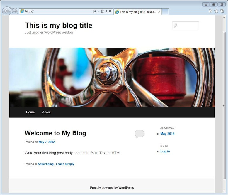 After Installation WordPress Blog Preview